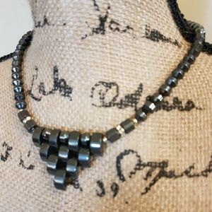 Jewelry - Hematite Chunky Statement  Necklace